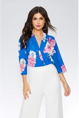 Quiz Royal Blue Floral Lapel Bodysuit