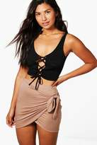 boohoo Isabella Wrap Front Tie Waist Jersey Mini Skirt