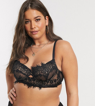 Ann Summers Curve Fearless longline lace non padded bra in black
