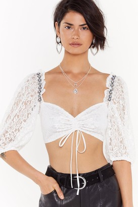 Nasty Gal Womens She's Pearl-fection Lace Cropped Blouse - Cream