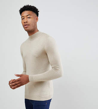 Asos Design DESIGN Tall muscle fit turtleneck sweater in oatmeal-Beige