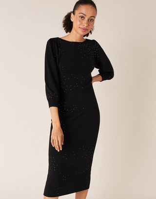 Monsoon Hotfix Gem Knit Dress with Sustainable Viscose Black