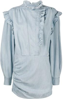 Etoile Isabel Marant Ruched Ruffled Denim Mini Dress