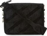 Off-White Ladies Black Embossed Luxe Velvet Striped Front Flap Cross-Body Bag Backpack