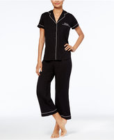 Kate Spade Embroidered-Pocket Top & Capri Pants Knit Pajama Set