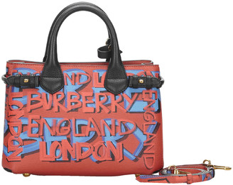 Burberry Red Leather Graffiti Banner Satchel