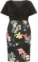 Dorothy Perkins Womens DP Curve Plus Size Black Floral Print Scuba Wrap Dress