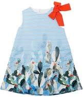 Il Gufo Cactus Print Striped Cotton Poplin Dress