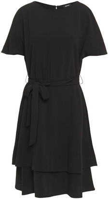 DKNY Tiered Belted Stretch-crepe Dress