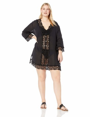 La Blanca Women's Plus Size Lace V-Neck Tunic Dress