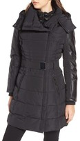 GUESS Women's Belted Mixed Media Coat