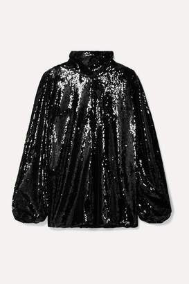 Racil Cutout Sequined Georgette Turtleneck Top - Black