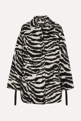 IRO Bera Oversized Zebra-print Brushed-felt Jacket - Black