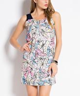Pink & Multicolor Butterfly Sleeveless Sheath Dress - Women