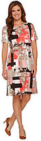 As Is Denim & Co. Printed Jersey Short Sleeve Dress with Keyhole