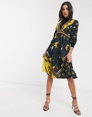 Ted Baker long sleeve spliced print midi dress