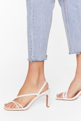 Nasty Gal Womens We're Strappy Together Faux Leather Heels - White - 3