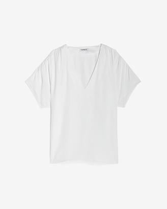 Express Ruched Shoulder V-Neck Top