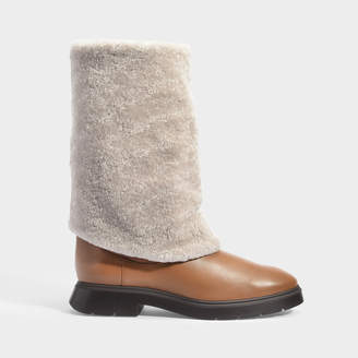 Stuart Weitzman Luiza Chill Turn-Up Boots In Brown Suede And Beige Shearling