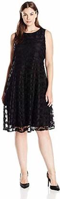 Tiana B Women's Plus Size Sleeveless Black Zebra Crochet Lace Princess Seam Dress 18W
