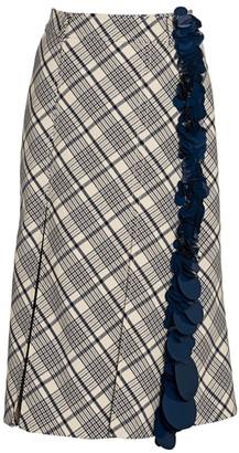 Prada Sequin Stripe Check Midi Skirt