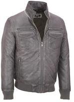 Black Rivet Mens Glossy Faux-Leather Jacket W/ Rib Knit