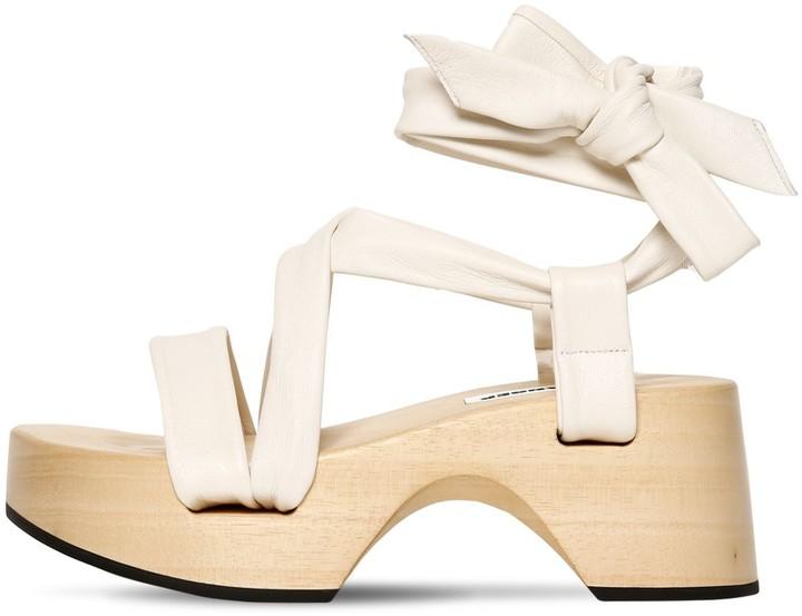 Jil Sander 70mm Wooden Wedge Leather Wrap Sandals