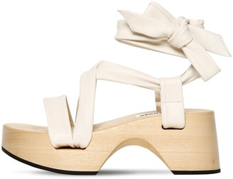 Jil Sander 70MM WOODEN WEDGE LEATHER WRAP SANDALS