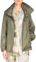 Akris Long-Sleeve Zip-Front Parka, Olive