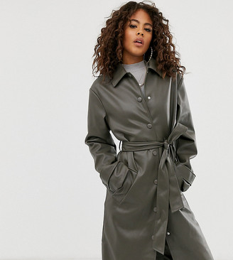 Asos DESIGN Tall leather look trench coat