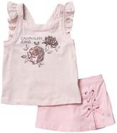 Calvin Klein Sequin Tank Top & Skort Set (Little Girls)
