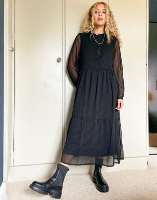Pieces high neck chiffon maxi dress in black