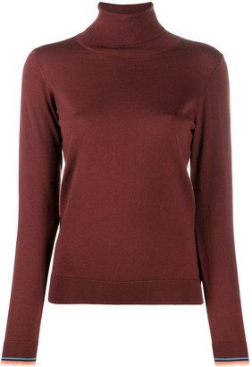Paul Smith Roll Neck Ribbed Knit Sweater