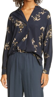 Vince Painted Blooms Floral High/Low Blouse