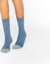 Johnstons of Elgin Blue Cashmere Color Block Ribbed Socks