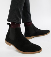 Asos Design DESIGN Wide Fit chelsea boots in black suede with natural sole