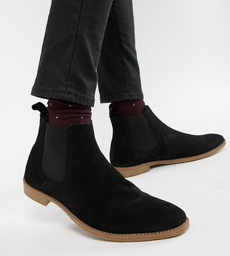 Asos DESIGN Wide Fit chelsea boots in black suede with natural sole