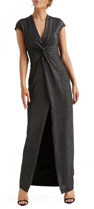 Halston Metallic Twist Front Jersey Gown
