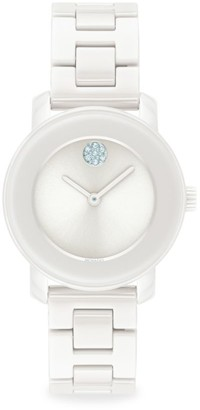 Movado Bold Stainless Steel & White Ceramic Bracelet Watch