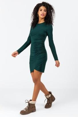francesca's Pat Side Ruched Dress - Evergreen