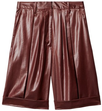 Tibi Liquid Drape Pleated Shorts