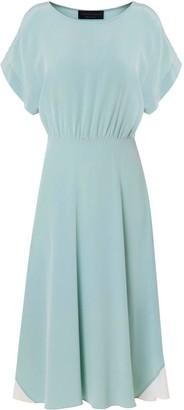 Edward Mongzar Hand Dyed Silk Misty Marbled Dress - Blue