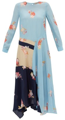Preen Line Selena Contrast-panel Floral-print Dress - Blue Multi