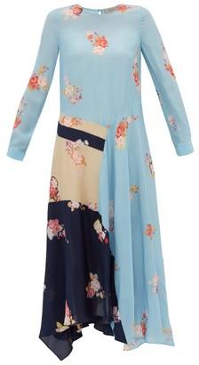 Preen Line Selena Contrast-panel Floral-print Dress - Womens - Blue Multi