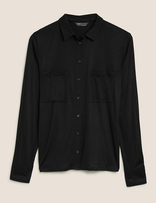 Marks and Spencer Jersey Collared Regular Fit Long Sleeve Shirt