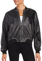Vintage Havana Leatherette Zip Front Jacket