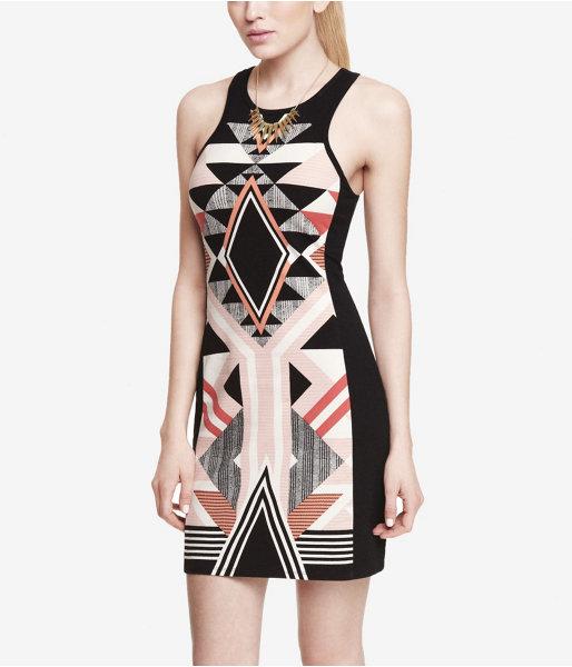 Express Placed Aztec Print Mini Sheath Dress