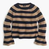 J.Crew Ruffle-sleeve crewneck in striped everyday cashmere