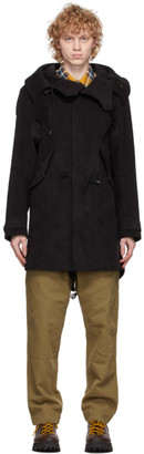 Ten C Black Faux-Suede Parka