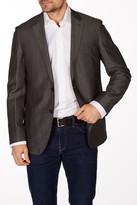 Levinas Charcoal Sharkskin Two Button Notch Lapel Wool Slim Fit Blazer